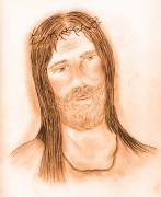 Jesus Drawings Prints - Jesus In The Light Print by Sonya Chalmers