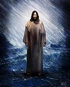 Storm Prints Mixed Media Metal Prints - Jesus is there Metal Print by Mark Spears