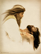 Christ Face Posters - Jesus Laid to Rest Poster by Ray Downing