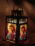 Stained Glass Glass Art Originals - Jesus Lantern by Mary DuCharme