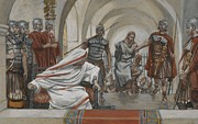 Pontius Pilate Framed Prints - Jesus Led from Herod to Pilate Framed Print by Tissot