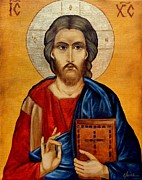 Icon Byzantine Painting Posters - Jesus Poster by Lena Day