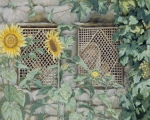 Gouache Art - Jesus Looking through a Lattice with Sunflowers by Tissot