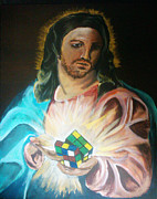 Geek Painting Prints - Jesus Loves the Sacred Geek Heart Print by Jacob Logan