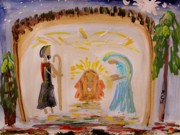 Christ Child Drawings Posters - Jesus-Mary and Joseph Poster by Mary Carol Williams