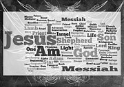 Word Cloud Prints - Jesus Messiah Print by Angelina Vick