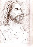 Jesus Drawings Originals - Jesus by Nevis Jayakumar