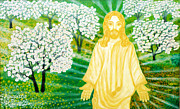 Sun Rays Painting Prints - Jesus on Mount Thabor Print by Augusta Stylianou