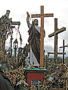 Must See Posters - Jesus on the Hill of Crosses. Lithuania Poster by Ausra Paulauskaite