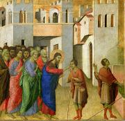 Bible Painting Prints - Jesus Opens the Eyes of a Man Born Blind Print by Duccio di Buoninsegna