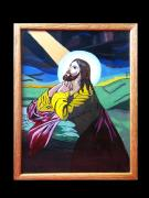 Pray Glass Art Originals - Jesus Praying by Cornelia Murariu