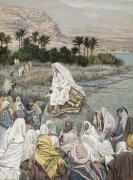 Followers Paintings - Jesus Preaching by the Seashore by Tissot