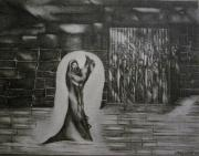 Jesus Drawings Prints - Jesus preaching to the prisoners after Jesus resurrection Print by Stacey Abrams