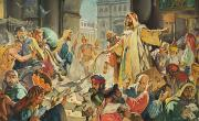 Gouache Paintings - Jesus Removing the Money Lenders from the Temple by James Edwin McConnell