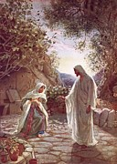Stone Walkway Framed Prints - Jesus revealing himself to Mary Magdalene Framed Print by William Brassey Hole