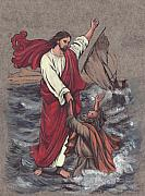 Religious Art Paintings - Jesus Saves Peter by Morgan Fitzsimons