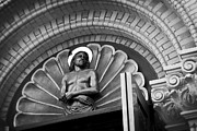 Jesus Photos - JESUS  SCULPTURE above CATHEDRAL DOOR LINTEL by Daniel Hagerman