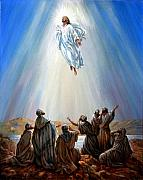 Disciples Posters - Jesus Taken up into Heaven Poster by John Lautermilch