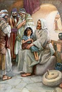 Child Jesus Paintings - Jesus Teaching the People by Arthur A Dixon