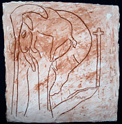 Tiles Ceramics Metal Prints - Jesus the Good Shepherd - tile Metal Print by Gloria Ssali