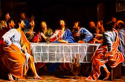 Jesus Digital Art Prints - Jesus The Last Supper Print by Pamela Johnson
