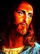 Christ Face Digital Art Prints - Jesus Thinking About You Print by Pamela Johnson