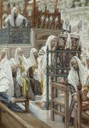 Jewish Paintings - Jesus Unrolls the Book in the Synagogue by Tissot