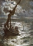 Boats On Water Prints - Jesus Walking Upon The Sea Print by William Brassey Hole