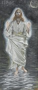 Tissot Painting Metal Prints - Jesus Walks on the Sea Metal Print by Tissot