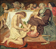 Wash Painting Posters - Jesus Washing Peters Feet Poster by Ford Madox Brown