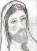 Jesus Drawings Prints - Jesus with Crosses Print by Sonya Chalmers