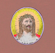 Jesus Drawings Prints - Jesus with Crown of Thorns Dark Matte Print by Donna Munro