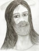 Jesus Drawings Prints - Jesus with Halo Print by Sonya Chalmers