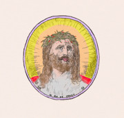 Jesus Drawings Prints - Jesus with the Crown of Thorns Print by Donna Munro