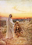 Kneeling Prints - Jesus withe the one leper Who Returned to Give Thanks Print by William Brassey Hole