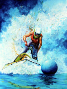 Skiing Art Prints Painting Framed Prints - Jet Blue Framed Print by Hanne Lore Koehler