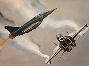 Jets Paintings - Jet Fighters by Biren Biren