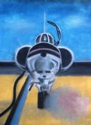 Navy Pastels Originals - Jet On Flight Deck by Thomas Armstrong