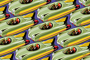 Toys Digital Art Metal Prints - Jet Racer rush hour Metal Print by Ron Magnes
