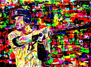 Baseball Game Painting Framed Prints - Jeter Framed Print by Mike OBrien