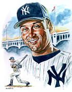 Yankees Painting Prints - Jeter Print by Tom Hedderich