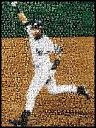 New York Yankees Mixed Media Framed Prints - Jeter Walk-Off Mosaic Framed Print by Paul Van Scott