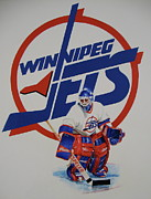 Goalie Painting Framed Prints - Jets Framed Print by Cliff Spohn