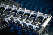 Carrier Prints - Jets On Aircraft Carrier Print by Stocktrek Images