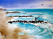Surf Fishing Drawings Originals - Jetty Fishin II by Pete Maier