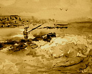 Fishing Drawings Originals - Jetty Fishin Sepia by Pete Maier