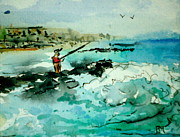 Ocean Shore Drawings Prints - Jetty Fishing Print by Pete Maier
