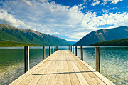 Jetty View Park Framed Prints - Jetty of a beautiful lake  Framed Print by Ulrich Schade