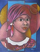 Haitian Painting Framed Prints - Jeune Fille en Rose Framed Print by Keller