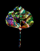 Abstract Nature Art Posters - Jewel Tone Leaf Poster by Ann Powell